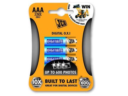 JCB OXI DIGITAL alkalická batéria LR03, AAA, blister 4 ks