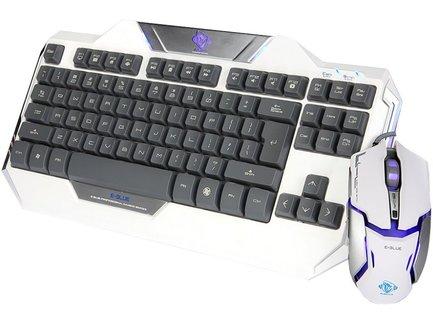 E-BLUE Sada klávesnica Auroza, herná, biela, drôtová (USB), US, s optickou hráčskou myšou