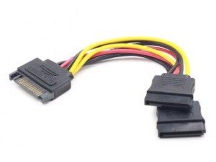 Kabel Y rozdvojku SATA napajaci na 2x SATA, 15cm