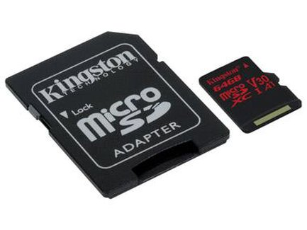 Kingston pamäťová karta 64GB Canvas React micro SDXC UHS-I V30 + SD adaptér