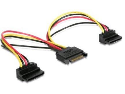 Kábel Y rozdvojku SATA napájací na 2x SATA 90°, 15cm