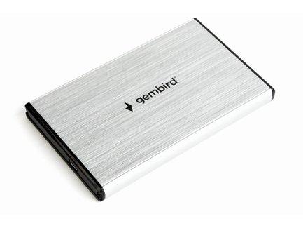 Gembird externý USB 3.0 case pro 2,5'' SATA, leštený hliník, strieborný